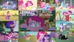 Size: 1280x721 | Tagged: safe, edit, edited screencap, editor:quoterific, screencap, applejack, braeburn, cerberus (character), cranky doodle donkey, fluttershy, maud pie, pinkie pie, princess celestia, princess luna, rainbow dash, rarity, spike, starlight glimmer, sunburst, twilight sparkle, alicorn, cerberus, donkey, dragon, earth pony, pegasus, pony, unicorn, a bird in the hoof, a friend in deed, a trivial pursuit, between dark and dawn, dragonshy, filli vanilli, horse play, it's about time, luna eclipsed, over a barrel, rock solid friendship, the summer sun setback, the super speedy cider squeezy 6000, ^^, angry, applejack's hat, aweeg*, balloon, bipedal, cowboy hat, eyes closed, female, floppy ears, glowing horn, hat, horn, kite, kite flying, magic, magic aura, male, mane seven, mane six, mare, multiple heads, nose in the air, open mouth, pinkie being pinkie, shocked, stallion, standing, standing on one leg, three heads, twilight is not amused, twilight sparkle (alicorn), unamused, unicorn twilight