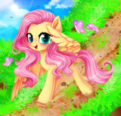 Size: 2251x2150 | Tagged: safe, artist:meqiopeach, fluttershy, butterfly, pegasus, pony, blushing, butterfly wings, cloud, cute, equestria amino, grass, grass field, greeting, happy, looking at you, mud, raised hoof, raised wings, road, rock, shyabetes, sky, smiling, smiling at you, solo, spring, walking, weapons-grade cute, wings