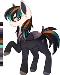 Size: 694x867   Tagged: safe, artist:velnyx, oc, oc:dusty miller, pegasus, pony, female, mare, raised hoof, simple background, solo, transparent background, two toned wings, wings