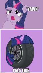 Size: 500x832   Tagged: safe, artist:frisco1522, twilight sparkle, pony, i'm a tire, imgflip, mario, meme, onomatopoeia, pun, purple background, reference, simple background, super mario bros., tire, tired, visual pun, yawn