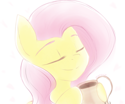Size: 1200x1000   Tagged: safe, artist:maravor, fluttershy, pony, bust, cup, cute, drink, eyes closed, female, food, hoof hold, mare, portrait, shyabetes, simple background, solo, tea, teacup, white background