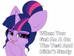 Size: 2827x2150   Tagged: safe, artist:pegamutt, sci-twi, twilight sparkle, pony, unicorn, alternate hairstyle, hair bun, looking at you, meme, purple smart, raspberry, smiling, smug, solo, tongue out