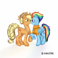 Size: 1600x1600   Tagged: safe, artist:jopokepoke, applejack, rainbow dash, earth pony, pegasus, pony, the last problem, appledash, braided tail, close together, clothes, engagement ring, female, folded wings, gold, hair bun, holding hooves, jewelry, lesbian, looking at each other, necklace, older, older applejack, older rainbow dash, ring, shipping, silver, smiling, standing, sweater, turtleneck, wedding ring, wings