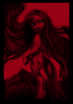 Size: 3776x5384   Tagged: safe, artist:misstwipietwins, pinkie pie, earth pony, pony, absurd file size, absurd resolution, female, looking back, mare, nightmare fuel, pinkamena diane pie, red hue, sad, solo