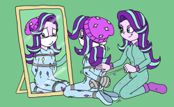 Size: 2197x1349 | Tagged: safe, artist:bugssonicx, starlight glimmer, equestria girls, arm behind back, beanie, bondage, bondage mitts, bound and gagged, cloth gag, clothes, footed sleeper, footie pajamas, gag, hat, kite, kites, mirror, onesie, otn gag, over the nose gag, pajamas, rope, rope bondage, self paradox, sleepover, slumber party, socks, string, taped fists, tied up