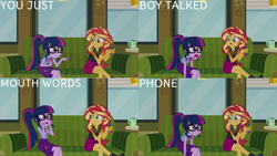 Size: 1280x720 | Tagged: safe, edit, edited screencap, editor:quoterific, screencap, sci-twi, sunset shimmer, twilight sparkle, equestria girls, equestria girls series, text support, bowtie, clothes, cutie mark, cutie mark on clothes, duo, duo female, female, geode of empathy, geode of telekinesis, glasses, jacket, jewelry, leather, leather jacket, magical geodes, necklace, open mouth, ponytail, text support: sunset shimmer