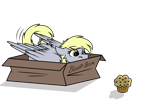Size: 1152x821 | Tagged: safe, artist:rokosmith26, part of a set, derpy hooves, pegasus, pony, behaving like a cat, boop box, box, butt fluff, cheek fluff, commission, eyes on the prize, female, floppy ears, fluffy, food, if i fits i sits, imminent pounce, looking at something, lying down, mare, muffin, part of a series, pony in a box, roko's hunting ponies, simple background, solo, tail, text, transparent background, wings, ych result