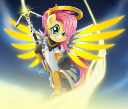 Size: 3528x3000   Tagged: safe, artist:fadlihalimns, fluttershy, pegasus, pony, blushing, crossover, cute, female, heart, heart hoof, high res, hoof hold, looking at you, mare, mercy, mercyshy, overwatch, reaching, shyabetes, smiling, solo, spread wings, staff, underhoof, wings
