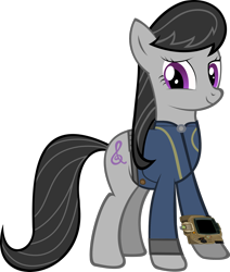 Size: 1600x1886 | Tagged: safe, artist:datbrass, artist:ponygamer2020, edit, edited screencap, screencap, octavia melody, earth pony, pony, fallout equestria, clothes, cute, fallout, female, happy, jumpsuit, looking at you, mare, not a vector, pipboy, simple background, solo, transparent background, vault suit, vector