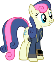 Size: 1280x1455 | Tagged: safe, artist:moongazeponies, artist:ponygamer2020, edit, edited screencap, screencap, bon bon, sweetie drops, earth pony, pony, fallout equestria, clothes, fallout, female, hooves, jumpsuit, mare, not a vector, pipboy, simple background, smiling, solo, transparent background, vault suit, vector