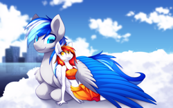 Size: 2880x1800   Tagged: safe, artist:scarlet-spectrum, oc, oc:diamond sun, oc:hawker hurricane, pegasus, pony, anthro, unguligrade anthro, series:pet hawk, anthro with ponies, cloud, colored wings, commission, female, hawkmond, looking at each other, lying down, male, mare, on a cloud, sky, stallion, wings