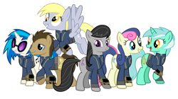 Size: 5360x3008   Tagged: safe, artist:datbrass, artist:misterlolrus, artist:moongazeponies, artist:ponygamer2020, artist:silentmatten, edit, edited screencap, screencap, bon bon, derpy hooves, dj pon-3, doctor whooves, lyra heartstrings, octavia melody, sweetie drops, time turner, vinyl scratch, earth pony, pegasus, pony, unicorn, fallout equestria, background six, clothes, fallout, female, happy, hooves, horn, jumpsuit, looking at you, male, mare, not a vector, open mouth, pipboy, raised hoof, smiling, stallion, sunglasses, teeth, vault suit, vector, wings