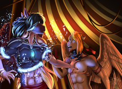 Size: 2897x2092 | Tagged: safe, artist:blackblood-queen, oc, oc:daniel dasher, oc:singe, dracony, dragon, hybrid, pegasus, anthro, unguligrade anthro, anthro oc, armor, clothes, couple, digital art, gay, male, partial nudity, pegasus oc, performer, pulling, stallion, story in the source, topless, transformation
