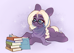 Size: 2588x1884 | Tagged: safe, artist:sugarstar, oc, earth pony, book, clothes, digital art, female, glasses, high res, mare, scarf, simple background, solo