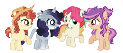 Size: 1473x637 | Tagged: safe, artist:xxcheerupxxx, oc, oc only, oc:blaze sprint, oc:color harvest, oc:northern feather, oc:rose dawn, earth pony, hippogriff, hybrid, pegasus, pony, female, filly, hat, magical lesbian spawn, magical threesome spawn, offspring, parent:apple bloom, parent:babs seed, parent:coconut cream, parent:cozy glow, parent:gabby, parent:scootaloo, parent:sweetie belle, parent:toola roola, parent:wind sprint, simple background, transparent background
