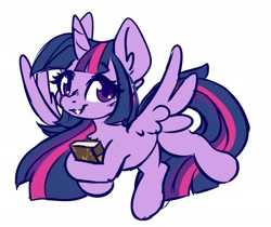 Size: 2042x1719   Tagged: safe, artist:ruef, twilight sparkle, alicorn, pony, book, chest fluff, cute, ear fluff, hoof hold, looking at you, smiling, solo, spread wings, twiabetes, twilight sparkle (alicorn), wings
