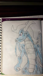 Size: 1280x2276 | Tagged: safe, artist:infinitydragon900, trixie, dragon, dragoness, dragonified, female, solo, species swap, traditional art, trixiedragon, wings