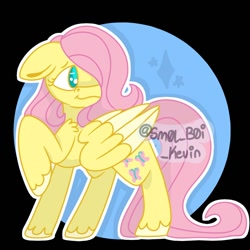 Size: 1000x1000 | Tagged: safe, artist:sm0lb0ikevin, fluttershy, pegasus, pony, hair over one eye, solo, unshorn fetlocks