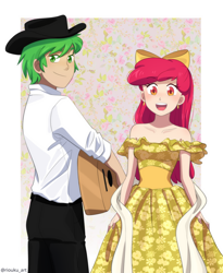 Size: 900x1099 | Tagged: safe, artist:riouku, apple bloom, spike, human, cinco de mayo, clothes, commission, dress, female, guitar, humanized, male, musical instrument, shipping, spikebloom, straight