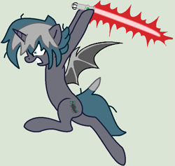 Size: 727x690 | Tagged: safe, artist:jadethepegasus, artist:madzbases, oc, oc only, oc:elizabrat meanfeather, alicorn, bat pony, bat pony alicorn, pony, alicorn oc, base used, bat pony oc, bat wings, clone, female, gray background, gritted teeth, hoof hold, horn, lightsaber, mare, raised hoof, raised leg, simple background, sith, solo, star wars, weapon, wings