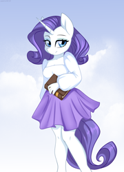 Size: 5400x7500 | Tagged: safe, artist:chickenbrony, rarity, pony, unicorn, anthro, absurd resolution, book, clothes, female, looking at you, mare, skirt, smiling, solo