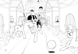 Size: 4740x3266 | Tagged: safe, artist:bluvsred, big macintosh, lyra heartstrings, twilight sparkle, earth pony, pony, unicorn, black and white, book, female, golden oaks library, grayscale, high res, houses, lineart, male, mare, monochrome, ponyville, simple background, stallion, unicorn twilight, white background