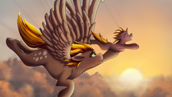 Size: 2666x1500 | Tagged: safe, artist:crimsonwolf360, derpy hooves, dinky hooves, pegasus, pony, unicorn, cloud, ear fluff, female, filly, floppy ears, flying, happy, mare, mother and child, mother and daughter, mountain, sunset