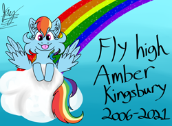 Size: 2034x1500 | Tagged: safe, artist:jay_wackal, rainbow dash, pegasus, pony, :p, cloud, in memoriam, memorial, rainbow, solo, tongue out, tribute
