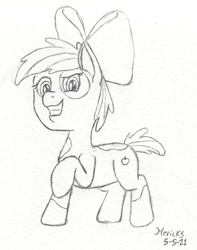 Size: 567x720 | Tagged: safe, artist:hericks, apple bloom, pipsqueak, oc, oc only, oc:crab apple, earth pony, pony, doodle, earth pony oc, female, filly, fusion, grin, looking at you, one hoof raised, smiling, solo