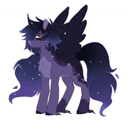 Size: 1280x1241 | Tagged: safe, artist:void-sommar, oc, alicorn, pony, alicorn oc, chest fluff, ethereal mane, horn, magical lesbian spawn, offspring, parent:princess luna, parent:rainbow dash, parents:lunadash, simple background, solo, starry mane, white background, wings