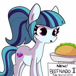 Size: 3000x3000 | Tagged: safe, artist:tjpones, sonata dusk, earth pony, pony, eyes on the prize, female, food, high res, mare, ponified, ponified siren, simple background, solo, sonataco, taco, white background