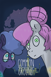 Size: 6331x9472 | Tagged: safe, alternate version, artist:azulejo, princess celestia, princess luna, earth pony, pony, fanfic:common ground, absurd resolution, city, cover, cutie mark, fanfic, fanfic art, fanfic cover, female, glasses, mare, nerd, night, pink-mane celestia, race swap, royal sisters, siblings, sisters, text