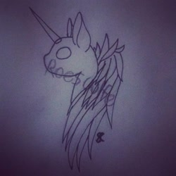 Size: 1080x1080 | Tagged: safe, artist:roeswolfcreations, oc, oc only, pony, unicorn, bald, base, horn, lineart, solo, traditional art, unicorn oc