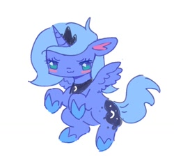 Size: 1024x946 | Tagged: safe, artist:10uhh, artist:mesqrit, princess luna, alicorn, pony, :3, blush sticker, blushing, female, filly, floppy ears, no pupils, s1 luna, simple background, solo, white background