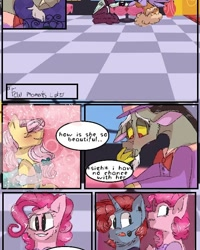Size: 540x676 | Tagged: safe, artist:cocolove2176, discord, fluttershy, pinkie pie, oc, draconequus, pegasus, pony, unicorn, comic:fluttering chaos, blushing, bowtie, bust, clothes, comic, discoshy, eyes closed, female, headworn microphone, horn, indoors, male, shipping, straight, suit, unicorn oc