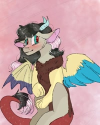 Size: 540x676 | Tagged: safe, artist:cocolove2176, oc, oc only, draconequus, hybrid, abstract background, blushing, draconequus oc, female, interspecies offspring, offspring, parent:discord, parent:fluttershy, parents:discoshy, solo