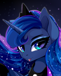 Size: 4000x5000 | Tagged: safe, artist:xsatanielx, princess luna, alicorn, pony, bust, constellation, ear fluff, ethereal mane, female, mare, open mouth, portrait, solo, starry mane