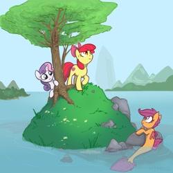 Size: 2048x2048   Tagged: safe, artist:pfeffaroo, apple bloom, scootaloo, sweetie belle, earth pony, pony, seapony (g4), unicorn, cutie mark crusaders, island, mount aris, ocean, seaponified, seapony scootaloo, species swap, tree, trio, water