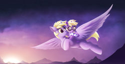 Size: 3466x1779 | Tagged: safe, artist:allyster-black, derpy hooves, dinky hooves, pegasus, pony, unicorn, :o, canterlot, clothes, cute, dinky riding derpy, ear tufts, female, flying, goggles, mother and child, mother and daughter, mountain, mountain range, music video, open mouth, ponies riding ponies, riding, scarf, sun, sunset