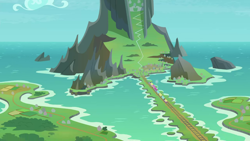 Size: 1280x720   Tagged: safe, screencap, surf and/or turf, background, causeway, cloud, friendship express, mount aris, mountain, no pony, ocean, scenery, scenic ponyville, sky, train, train tracks
