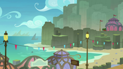 Size: 1280x720   Tagged: safe, screencap, surf and/or turf, background, beach, lamp post, mount aris, no pony, scenery, scenic ponyville, train station