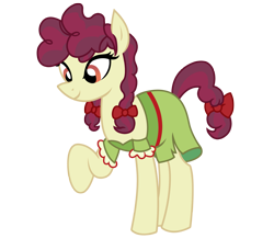Size: 2763x2517 | Tagged: safe, artist:three uncle, hilly hooffield, earth pony, pony, the hooffields and mccolts, background pony, bow, clothes, female, hair bow, hooffield family, mare, pigtails, pose, simple background, solo, vector