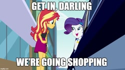 Size: 888x499 | Tagged: safe, edit, edited screencap, screencap, rarity, sunset shimmer, driving miss shimmer, equestria girls, equestria girls series, caption, choose your own ending (season 1), driving miss shimmer: rarity, image macro, imgflip, limousine, mean girls, meme, text