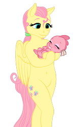 Size: 677x1068 | Tagged: safe, artist:vasillium, fluttershy, oc, dragon, pegasus, semi-anthro, alternate hairstyle, baby, baby dragon, belly button, duo, eyes closed, female, fluttermom, holding a dragon, mare, simple background, transparent background