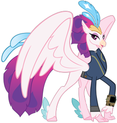 Size: 8196x8647   Tagged: safe, artist:andoanimalia, artist:ponygamer2020, queen novo, classical hippogriff, hippogriff, fallout equestria, my little pony: the movie, absurd resolution, clothes, crown, fallout, female, jewelry, jumpsuit, lidded eyes, looking at you, pipboy, regalia, show accurate, simple background, smiling, smiling at you, solo, transparent background, vault suit, vector, wings