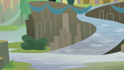 Size: 1280x720   Tagged: safe, screencap, surf and/or turf, background, mount aris, no pony, scenic ponyville