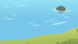 Size: 1280x720   Tagged: safe, screencap, surf and/or turf, background, grass, harmonizing heights, lake, mount aris, no pony, rock, scenic ponyville