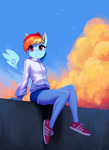 Size: 1500x2061 | Tagged: safe, artist:mrscroup, rainbow dash, pegasus, anthro, plantigrade anthro, :3, adidas, clothes, cloud, cute, dashabetes, female, floating wings, jacket, shoes, shorts, sitting, smiling, sneakers, solo, sweater, tracksuit, wings