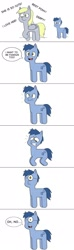 Size: 640x2160 | Tagged: safe, artist:sveta kuklina, blues, derpy hooves, noteworthy, comic, donny swineclop, one eye, simple background, speech bubble, what has science done, you've messed with the natural order