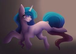 Size: 1835x1304 | Tagged: safe, artist:neonbugzz, izzy moonbow, pony, unicorn, g5, gradient background, gradient mane, redraw, solo
